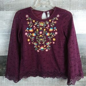 BEAUTEES Maroon Long Sleeve Lace Embroidered Top